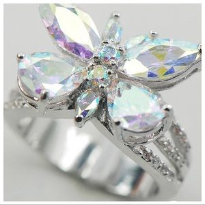 Jewelry - NWT!  Rose Rainbow Topaz 🦋Butterfly Fashion Ring!